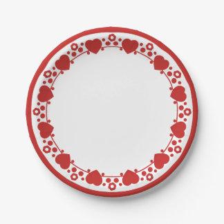Herzen u. Polka-Punkte rot u. weiße Pappteller