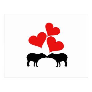 Herzen u. Tapirs Postkarte