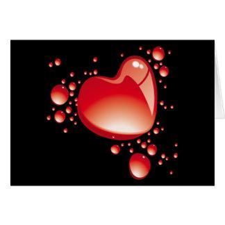 Herzen und Blasen auf schwarzem Grund - Grußkarte