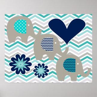 Herzen und Blumen-Elefant-Kinderzimmer-Plakat Poster