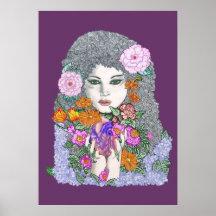 Herzen und Blumen-Plakat