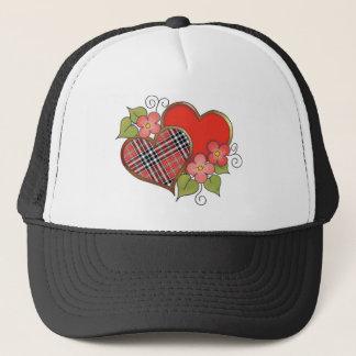 Herzen und Blüten - roter schwarzer Tartan Truckerkappe