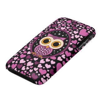 Herzen und rosa Eule iPhone 3 Hülle