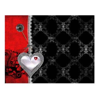 Herzen und Spitze Postkarte