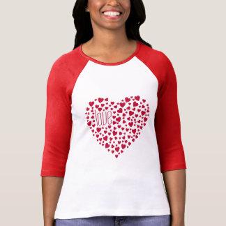 Herzen voll des Herz-Liebe-Rotes T-Shirt