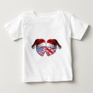 Herzen Weihnachtenpatriotische Großbritanniens USA Baby T-shirt