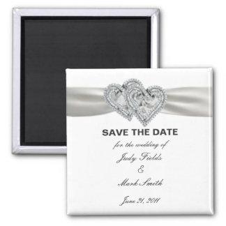 Herzen weiß Save the Date Wedding Magneten Quadratischer Magnet