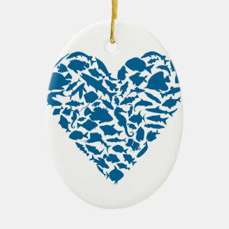 Herzfische Ovales Keramik Ornament