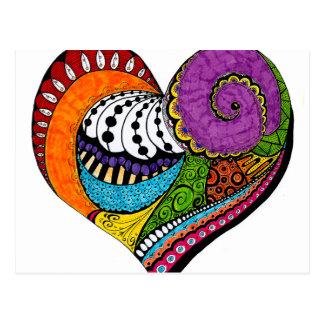 Herzform auf Postkarte - farbiges drawin