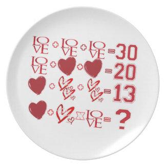Herzgleichungs-Valentinstagentwurf Melaminteller