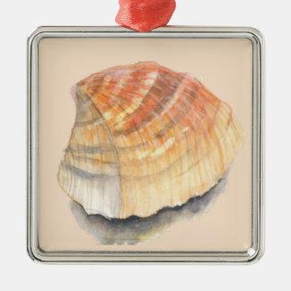 HerzmuschelSeashell vom Strand an den Sommerferien Silbernes Ornament