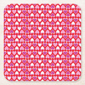 Herzmuster Kartonuntersetzer Quadrat