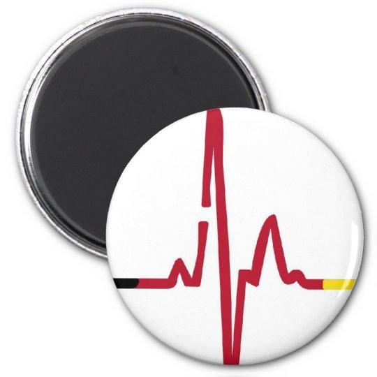 Herzschlag Deutschland Runder Magnet 5,1 Cm