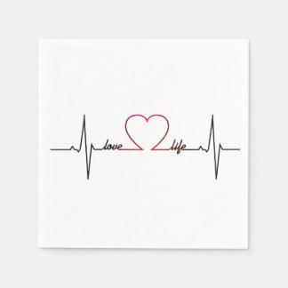 Herzschlag mit inspirational Zitat des Liebelebens Papierserviette