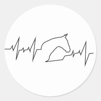 Herzschlag-Pferdekopf Runder Aufkleber
