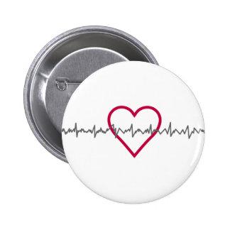 Herzschlag Runder Button 5,7 Cm