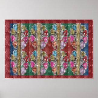 Herzspaß-Liebe Kunstsammlung des JUWELS rosarote Poster