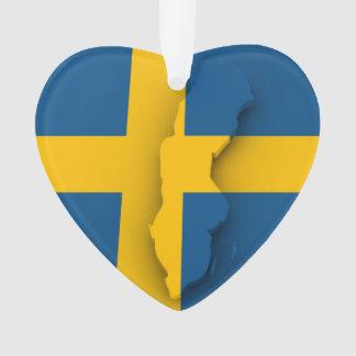Herzverzierung - schwedische Flagge/Schneeflocke Ornament
