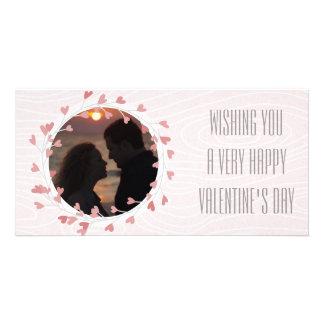 Herzwreath-Valentinstag-Rosa Individuelle Foto Karten