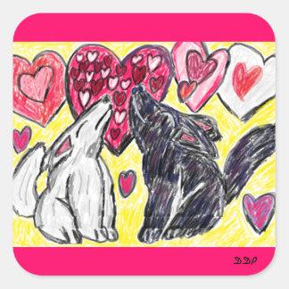 Heulender Valentinsgrußwolf Quadratischer Aufkleber
