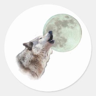 Heulender Wolf Runder Aufkleber