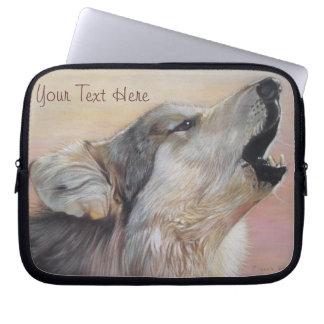 Heulentiermalerei-Realistkunst des grauen Wolfs Laptop Sleeve