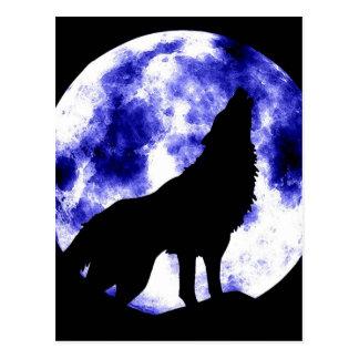 Heulenwolf am Mond Postkarte
