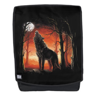 Heulenwolf am Sonnenuntergang-Schrift-Rucksack Rucksack