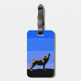 Heulenwolf im Winter - ursprüngliche Tier-Kunst Gepäckanhänger