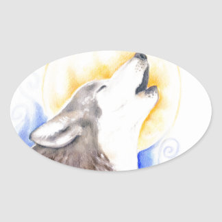 Heulenwolf Ovaler Aufkleber