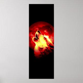 Heulenwolf u. rotes Mond-Plakat Poster