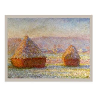 Heuschober, weißer Frost-Effekt durch Monet Postkarte