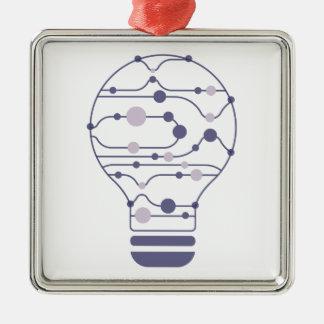 Hexahedrons innerhalb der Ideen-Birne Silbernes Ornament