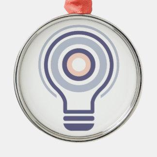Hexahedrons innerhalb Ideen-Birnen-der abstrakten Silbernes Ornament