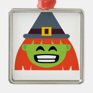 Hexe alles Emoji Halloween Silbernes Ornament