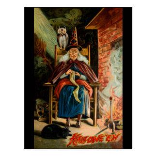 Hexe am Kamin Postkarte