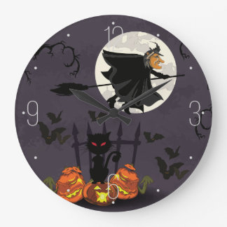 Hexe auf Broomstick, schwarze Katze, Kürbise Große Wanduhr