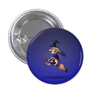 Hexe auf einem Besen Runder Button 3,2 Cm