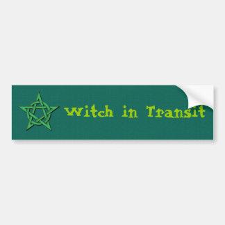 Hexe bei dem Transport Autoaufkleber
