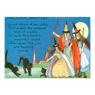 Hexe-Besen-schwarze Katzen-Vollmond-Gedicht 12,7 X 17,8 Cm Einladungskarte