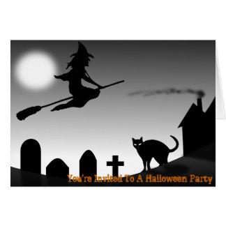 Hexe-Besen-Stock-Halloween-Party-Einladungen Karte