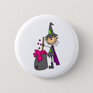 Hexe, die Gebräu macht Runder Button 5,1 Cm