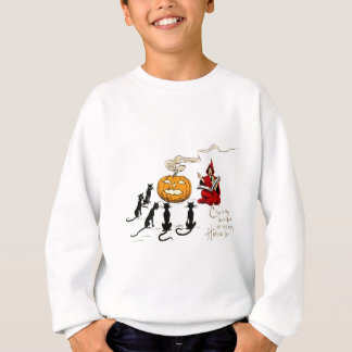 Hexe, die schwarze Katzen-Jack O Laterne Sweatshirt