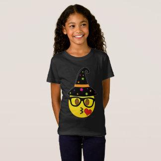 Hexe Emoji Halloween T - Shirt für Mädchen