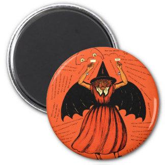 Hexe-Geheimnis-Spiel Halloweens Retro Vintages Runder Magnet 5,7 Cm