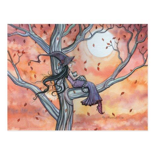 Hexe-Katzen-Halloween-Postkarte durch Molly Harris