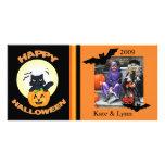 Hexe-Katzen-kundenspezifische Foto-Karte Halloween Photo Karten