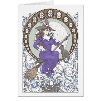 Hexe-Kunst Nouveau leere Gruß-Karte Karte
