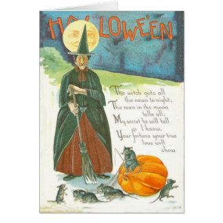 Hexe-Kürbis-Besen-Mann in der Mond-Maus Karte