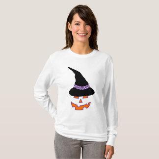 Hexe-Kürbis-Schönheits-langer Hülsen-T - Shirt